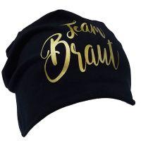 """Beanie """"Team Braut"""" - Glamour - Schwarz"""
