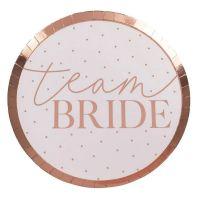 Junggesellenabschied - Pappteller in Rose-Gold mit Team Bride-Aufdruck