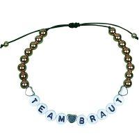 """Perlen-Armband """"Team Braut"""" - Gold"""