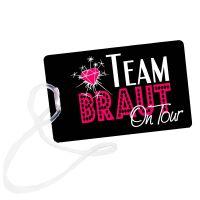 JGA Reisen - schwarzer Kofferanhaenger mit Team Braut-Motiv