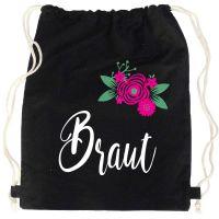 """Rucksack """"Braut"""" - Blumen - Schwarz"""