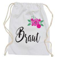 Weisser JGA Turnbeutel mit Braut-Schriftzug und Blumen