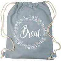 Grauer JGA Braut-Beutel mit Blumenkranz-Motiv