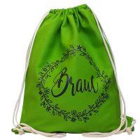 JGA-Turnbeutel Braut - Grün mit Blumenkranz-Motiv