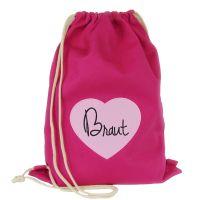 JGA Buegelbild Rucksack Braut - Pink mit besticktem Herz im Aufnaeher-Design