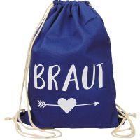 Dunkelblau JGA Braut-Turnbeutel mit schwarzem Herz und Pfeil-Motiv