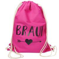Pinkfarbener JGA Braut-Turnbeutel mit schwarzem Herz und Pfeil-Motiv
