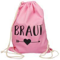 Rosafarbener JGA Braut-Turnbeutel mit schwarzem Herz und Pfeil-Motiv