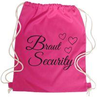 Pinkfarbener Braut Security Rucksack fuer den JGA