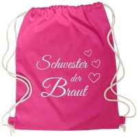 """Rucksack """"Schwester der Braut"""" mit Herzen - Pink"""