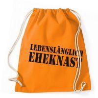 Orangefarbener Turnbeutel-Rucksack mit Eheknast-Motiv