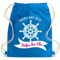 Blauer JGA Turnbeutel-Rucksack mit Hafen der Ehe-Aufdruck