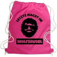 Pinkfarbener JGA Turnbeutel-Rucksack mit Hangover Alan-Aufdruck