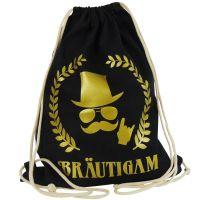 Schwarzer JGA Braeutigam-Rucksack mit goldfarbenem Aufdruck