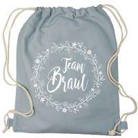 "Rucksack ""Team Braut"" - Floral - Grau"