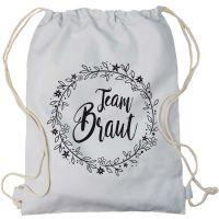 "Rucksack ""Team Braut"" - Floral - Hellgrau"
