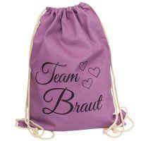 "Rucksack ""Team Braut"" - Herzen - Lila"