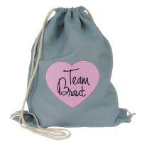JGA Buegelbild Turnbeutel Team Braut - Grau mit rosafarbenem Herz im Aufnaeher-Design