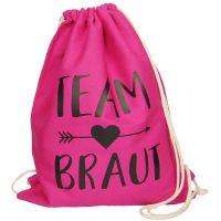 Pinkfarbener JGA Stoffbeutel mit schwarzem Pfeil und Team Braut-Aufdruck