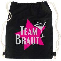 Schwarzer JGA-Rucksack mit Team Braut-Schriftzug und Stern-Motiv