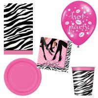 JGA-Set mit Pappgeschirr, Tischdecke und Luftballons im Zebra-Muster