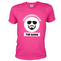 Pinkfarbenes JGA Abschiedstour-Shirt mit Gangster-Motiv