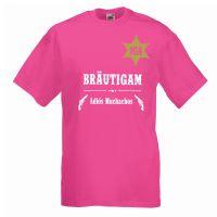 Pinkfarbenes JGA-Männer-Shirt mit Bräutigam-Schriftzug im Sheriff-Design