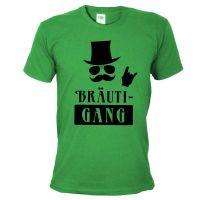 Gruenes JGA Herren-Shirt mit Braeuti-Gang Aufdruck