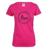Pinkes JGA Braut-Shirt mit Blumen-Motiv