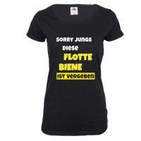 Schwarzes Damen-Shirt mit Flotte Biene-Motiv