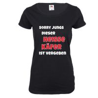 Schwarzes Damen-Shirt mit Heisser Käfer-Motiv