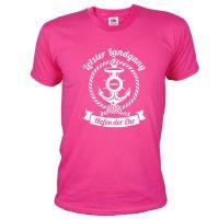 Pinkfarbenes JGA Marine-Shirt mit Letzter Landgang-Aufdruck