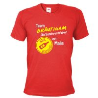 JGA-Shirt Team Bräutigam - Synchrontrinker von Malle - Rot