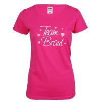 Pinkfarbenes Team Braut T-Shirt mit Herzen