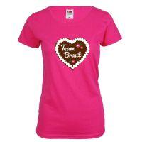 Pinkfarbenes JGA T-Shirt mit Lebkuchenherz und Team Braut-Schriftzug
