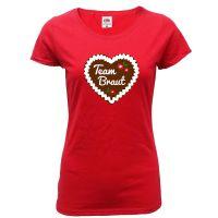 "T-Shirt ""Team Braut"" - Lebkuchenherz - Rot"