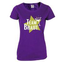 Junggesellinnenabschied T-Shirt Team Braut mit Stern - Lila