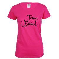 """T-Shirt """"Team Braut"""" - Teufel - Pink"""