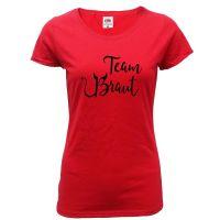 Rotes JGA T-Shirt mit Team Braut Teufel-Motiv