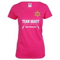 Pinkfarbenes Team Braut Junggesellenabschied-Shirt im Western-Look