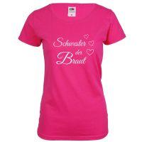 "T-Shirt ""Schwester der Braut"" - Herzen - Pink"