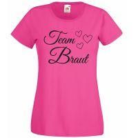 """T-Shirt """"Team Braut"""" mit Herzen in Pink"""
