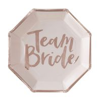 "Pappteller ""Team Bride"" - Rosé-Gold"
