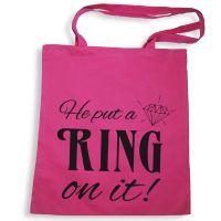 Pinkfarbene Tote Bag mit Ring-Slogan