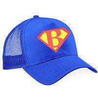 Trucker-Cap für den JGA - Blau mit Superhelden-Logo