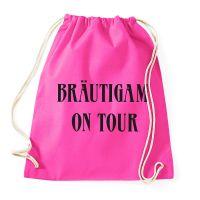 Pinkfarbener Turnbeutel mit Bräutigam-Motiv