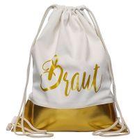 JGA-Turnbeutel Gold - Braut mit goldfarbener Borte
