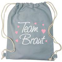 Junggesellenabschied Turnbeutel-Rucksack mit Team Braut-Herzchen-Motiv - Grau
