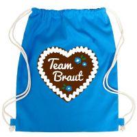 JGA Turnbeutel-Rucksack mit Team Braut-Lebkuchenherz-Motiv - Blau
