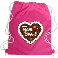 JGA Turnbeutel-Rucksack mit Team Braut-Lebkuchenherz-Motiv - Pink